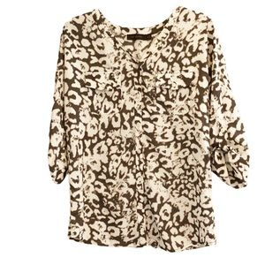 The Limited Brown Print V neck Long blouse top XS